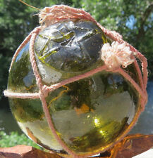 "Japanese Blown Glass Float 3"" Olive GREEN WP 109 Marine Matter Net Vintage!"