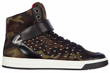PRADA MEN'S SHOES HIGH TOP LEATHER TRAINERS SNEAKERS NEW CAMOUFLAGE STUDS GR 7C7