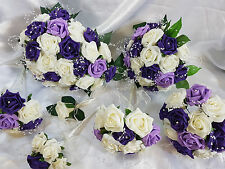 Wedding Flowers Lilac Purple Brides Bridesmaids Bouquet Flower Girl Cake Toppers