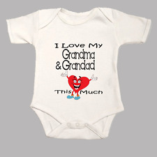 I Love My Grandma & Grandad This Much Cute Funny Heart Baby Grow Body Suit Vest