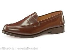 Samuel Windsor Mens Classic Brown Slip On Penny Loafer Shoe Leather Uppers Sole