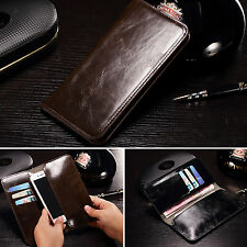 Real Genuine Flip Leather Purse Wallet Card Case Cover For LG OPPO Xiaomi HTC