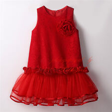 Girls Lace Flower Party Dress Drop Waist Sleeveless Wedding Pageant Christmas