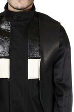 RICK OWENS New Men Black FRACTURED Cotton Leather Cotton Parka Coat Made ITALY