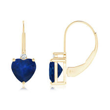 Solitaire Heart Sapphire and Diamond Leverback Earrings in 14k Yellow Gold