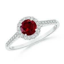 Round-Cut Garnet Halo Ring with Diamond Accents 14k White Gold Size 3-13