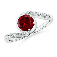 Solitaire Garnet Bypass Ring with Diamond Accents in 14k White Gold Size 3-13