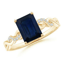 Solitaire Emerald Cut Blue Sapphire Diamond Engagement Ring 14k Yellow Gold