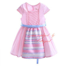 Girl Kids Party Dress Pleated Stripe Wedding Party Pageant Communion Princess