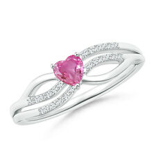 Solitaire Pink Sapphire Heart Promise Ring with Diamond 14K White Gold/ Silver