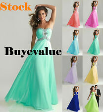 Chiffon Wedding Formal Evening Party Bridesmaid Ball Gown Prom Dress Long