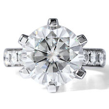 6.00 CT 14k White Gold ROund Cut Moissanite 6 Prong Solitaire Engagement Ring