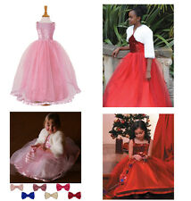 Girls Red Pink Sequin Ballgown- Flower Girl - Bridesmaid Party Dress 3-11