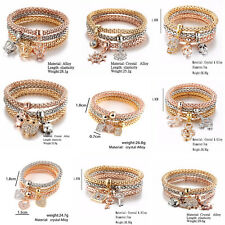 Lot 3PCS/Set Crystal Butterful Bracelet&Bangle Elastic Heart Wristband For Lady