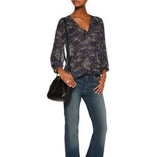 $268 NWT JOIE AXCEL DARK NAVY FLORAL PRINTED SILK BLOUSE SZ XS and SZ S