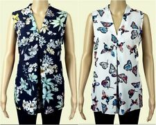 Ex George Ladies Navy White Floral Butterfly Sleeveless Summer Top Size 10 - 24