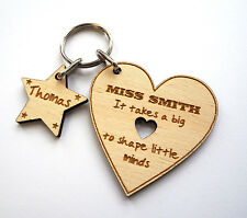 Personalised Heart Teacher Keyring Thank You Gift School End Of Term Present