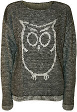 New Womens Owl Print Long Sleeve Stretch Sweater Top Ladies Knitted Jumper 8-14