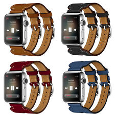 Double Buckle Cuff Leather Herme Band Bracelet Strap For Apple Watch Series 2/1