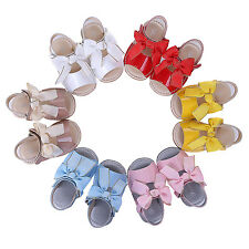 Baby Girls Bow Sandals Low Flat Heels Toddler Kids Party Wedding Princess Shoes