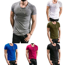 Fashion Mens Stylish Casual Slim Fit  Zipper Short Sleeve Shirts T Shirt Tee Top