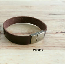 GENUINE LEATHER BRACELET MENS BROWN CUFF WRAP WRISTBAND PERSONALIZED MENS WOMEN