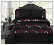 Pintuck Jacquard Weave Black Burgundy * KING QUEEN DOUBLE QUILT DOONA COVER SET