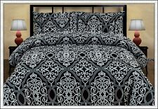 280TC Jacquard Weave Black Silver KING QUEEN DOUBLE QUILT DOONA DUVET COVER SET