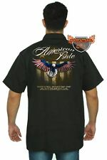 Men's Mechanic Work Shirt USA Flag American Pride Bald Eagle Stars & Stripes Vet