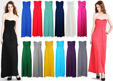 WOMENS STRAPLESS BOW TIE KNOT BANDEAU BOOBTUBE LONG JERSEY MAXI DRESS 8-14
