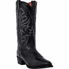 Dan Post Mens Black Leather Milwaukee R Toe 13in Cowboy Boots