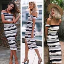 Women's Off Shoulder Kintted Striped  Long Sweater Evening Party Cocktail Dress