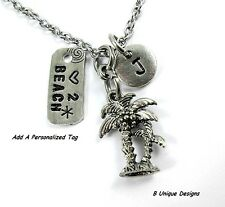 Coconut Palm Tree Sun Beach Charm Necklace Initial Women's Personalized Fashion