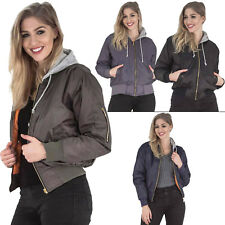New Womens Hooded Quilted Vintage MA1 Classic Bomber Jacket Size 8 10 14