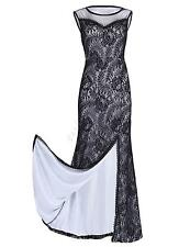 Sexy Womens Sleeveless Hollow Lace Evening Party Formal Cocktail Long Maxi Dress
