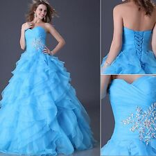 Quinceanera Masquerade Organza Ball Gown Long Prom Party Evening Wedding Dress