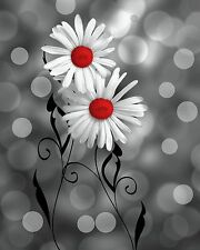 Black White Red Daisy Flower Modern Home Decor Wall Art Matted Picture