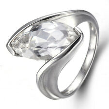 Marquise Cut Genuine White Topaz Solid 925 Sterling Silver Ring for Women Gift