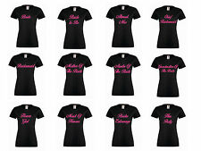 Personalised Hen Do Black T Shirts Hen Night Party Bride Ladies T-Shirt Printed