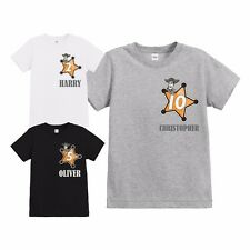 OFFICIAL CHILDRENS TOY STORY SHERIFF BADGE PERSONALISED BIRTHDAY T SHIRT
