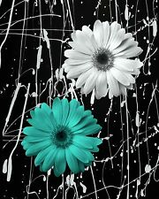 Black White Turquoise Daisy Flowers Modern Wall Art Home Decor Matted Picture