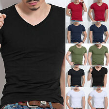 Fashion Men's Slim Fit Crew Neck Tops Shirt Casual V-Neck Short Sleeve T-Shirt