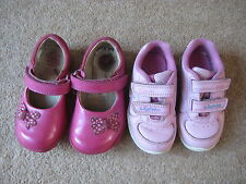 Girls Clarks Pink First Toddler Shoes Lights Size 5G or Trainers Size 4F Lights