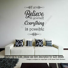 If you Believe in yourself Everything is Possible quote decal Vinyl Wall Sticker
