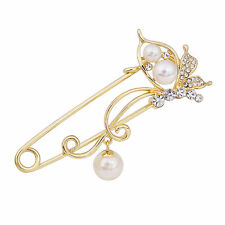 Crystal Butterfly Safety Pin Brooch with Pearl Pendant Cardigan Scarf Flower Pin