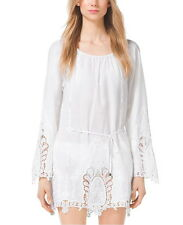 NWT $160 MICHAEL Michael Kors Embroidered Cotton-Voilé Tunic White XS M L XL