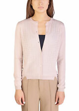 Miu Miu Women's Cashmere Silk Blend Puffed Pattern Cardigan Sweater Pink
