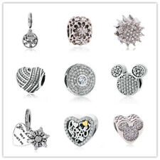 Clear 1pcs Silver CZ European Charm Beads Fit 925 Necklace Bracelet Pendant DIY