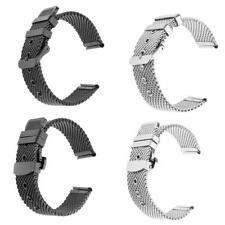 20mm Silver Black Unisex Shark Mesh Stainless Steel Watch Band Strap Thick Heavy