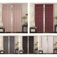 2-Layers Embroidery Floral Vine Sheer Front Rod Pocket Curtain w/ Valance Selma